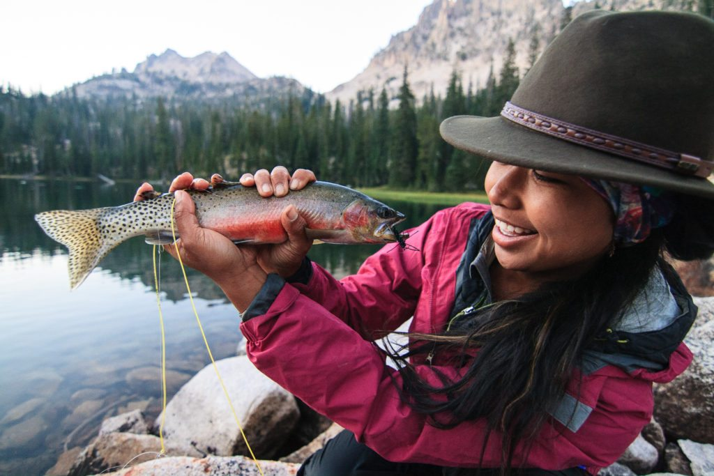 Anela Ramos fishing in the Sawtooths, the diversity dilemma in outdoor media