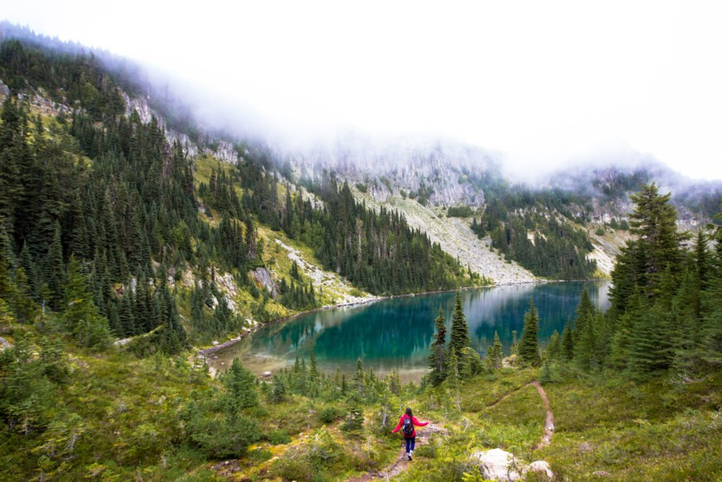 Diana Deaibes hiking the Tolmie Peak Trail, WA, the diversity dilemma in outdoor media